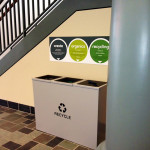 This 3-part bin sits in a commons room used for mingling and serving coffee. It sits adjacent to an art gallery.